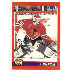 "1991-92 Score ED BELFOUR 'Hot Card"" Insert # 9 of 10 BLACK HAWKS"