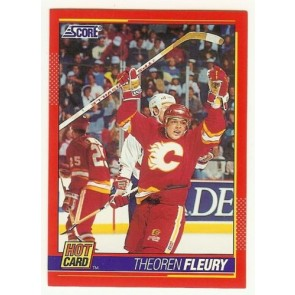 "1991-92 Score THEOREN FLEURY 'Hot Card"" Insert # 7 of 10 CALGARY FLAMES"