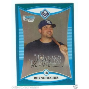 2008 Bowman Chrome RHYNE HUGHES Blue Refractor RC #127/150 Card # BCP207 RAYS