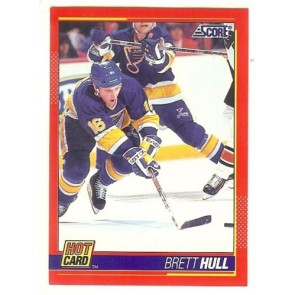 "1991-92 Score BRETT HULL 'Hot Card"" Insert # 3 of 10 ST. LOUIS BLUES"