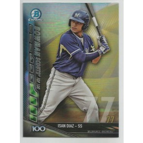 2017 Bowman Chrome ISAN DIAZ Scouts Top 100 #BTP-77 BREWERS