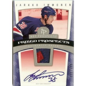 2006-07 Fleer Hot Prospects Jarkko Immonen Autograph Patch Rookie 122/599 2 color