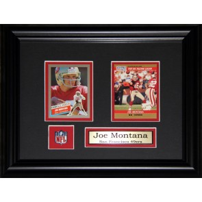 Joe Montana Double Card Framed with Matting, Plaque and Collector Pin