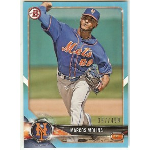 2018 Bowman Marcos Molina Sky Blue Prospect New York Mets #'d 257/499 Card #BP35