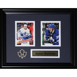 Auston Matthews Double Card Framed with Matting, Plaque