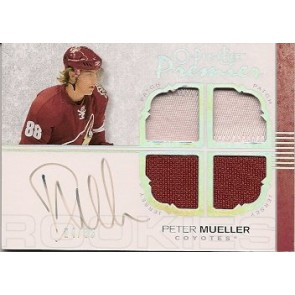 2007-08 O-Pee-Chee OPC Premier Peter Mueller Autograph Quad Rookie Jersey / Patch 24/35 2 Color