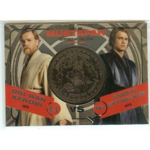 2015 Star Wars Chrome Obi-Wan Kenobi vs Anakin Skywalker Rare Medallion 096/150