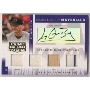 2005 Playoff Prime Lyle Overbay Quad Autograph Memorabilia /250