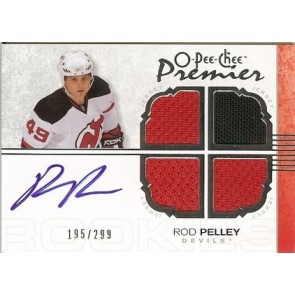 2007-08 O-Pee-Chee OPC Premier Rod Pelley Autograph Quad Jersey 195/299