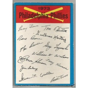 1973 OPC TEAM CHECKLIST BLUE PHILADELPHIA PHILLIES BACK UNMARKED RARE SP