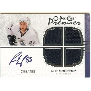 2007-08 O-Pee-Chee OPC Premier Rob Schremp Autograph Quad Jersey 266/299