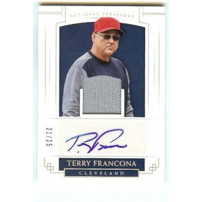 2018 Panini National Treasures Terry Francona Indians Jersey Auto #d 21/25