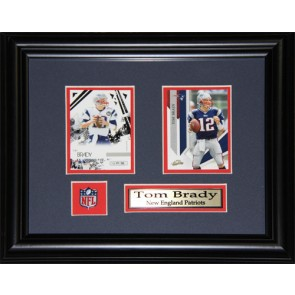 Tom Brady Double Card Framed with Matting, Plaque and Collector Pin