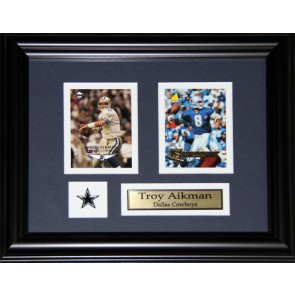 Troy Aikman Double Card Framed with Matting, Plaque and Collector Pin
