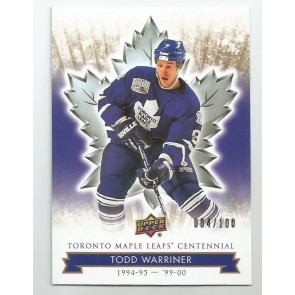 2017 UD MAPLE LEAFS CENTENNIAL TODD WARRINER Card # 77 #'d 004/100